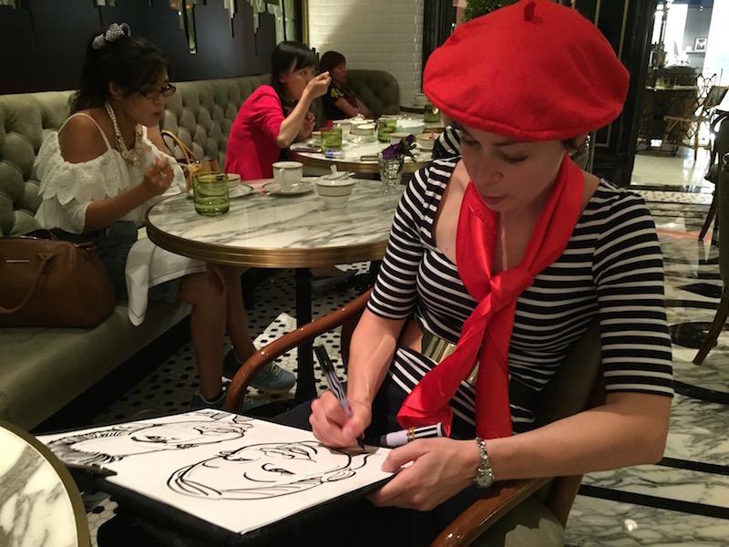 caricature artist ritz carlton cafe macau