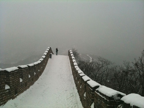 snow on the great wall beijing china