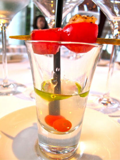 tomatoes distilled in a shot glass